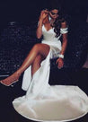 White Sheath Off The Shoulder Side Slit Sweetheart 2020 Prom Dresses