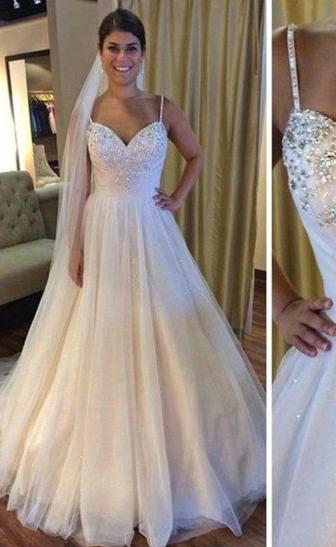 2020 Cheap A Line Tulle Spaghetti Straps With Beads Wedding Dresses