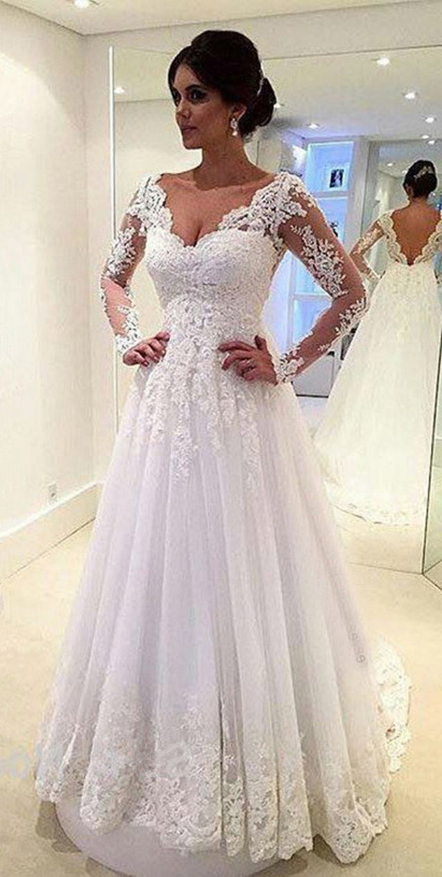 Cheap A Line Long Sleeves V Neck Tulle With Appliques 2021 Wedding Dresses