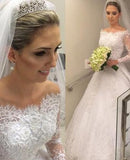 Pretty A Line 2020 Off The Shoulder Long Sleeves Lace Wedding Dresses