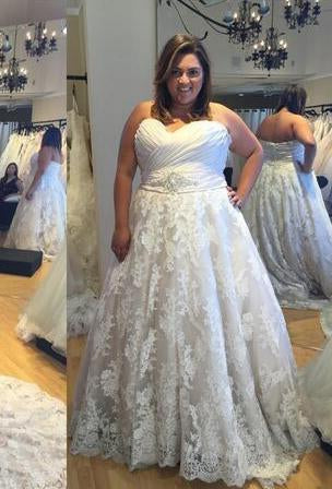 A Line Lace Sweetheart 2020 Cheap Plus Size Wedding Gown