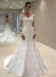 Charming Mermaid Long Sleeves Lace V Neck 2020 Wedding Dresses