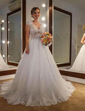 Elegant A Line Tulle With Lace 2020 Capped Sleeves Wedding Dresses