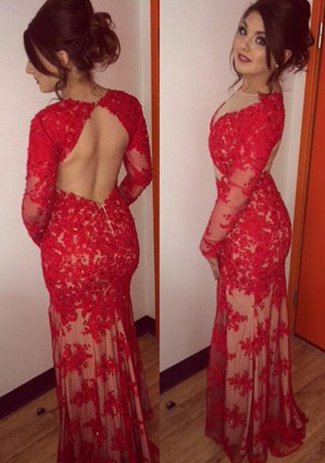 Charming Trumpet/Mermaid Red Long Sleeves Backless Lace 2020 Prom Dresses