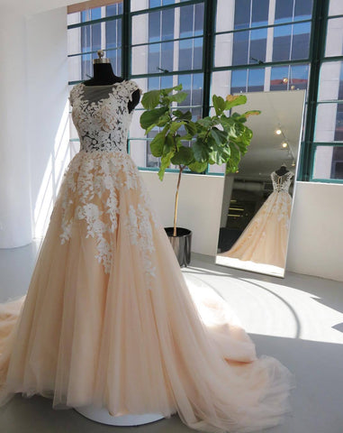 2020 New Arrival A Line Long Train Tulle Wedding Dresses With Appliques