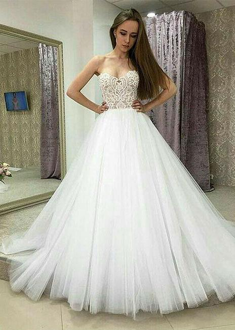 Cheap 2020 A Line Strapless Tulle White Wedding Dresses