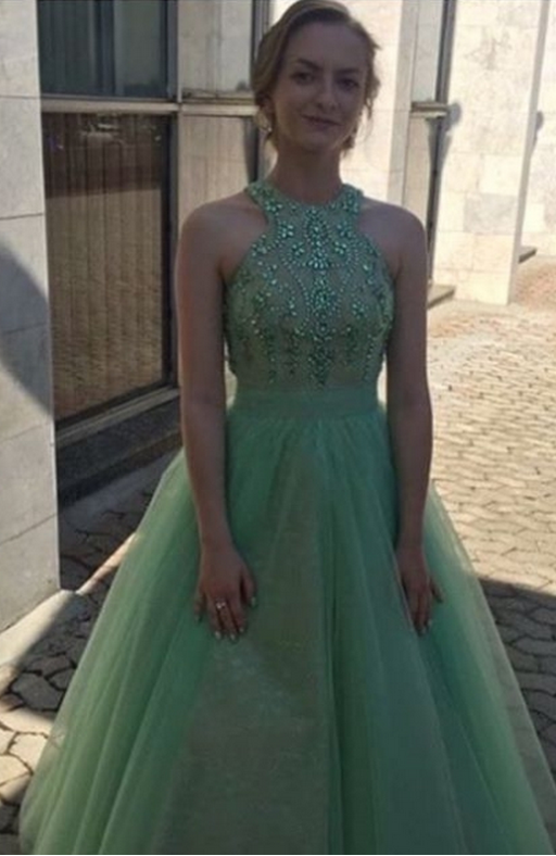 Cheap Tulle Sage Ball Gown 2021 Prom Dresses