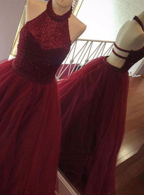 Cheap A-Line/Princess Burgundy Tulle Backless 2020 Prom Dresses