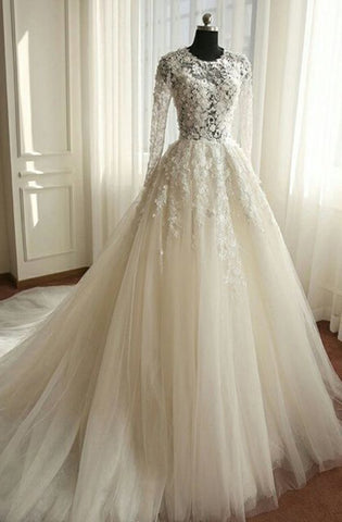 2020 Newest A Line Long Sleeves Tulle Wedding Dresses With Appliques