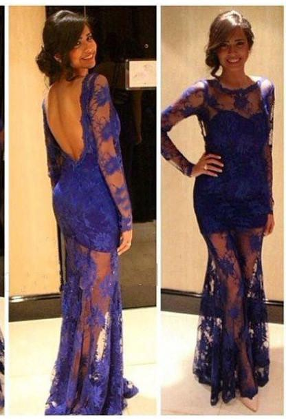 2020 New Arrival Sheath Purple Lace Long Sleeves Prom Dresses