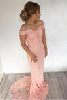 Peach 2020 Satin Off The Shoulder Satin Prom Dresses