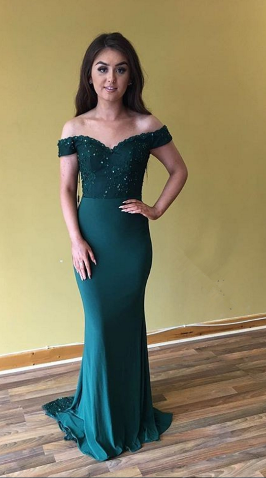 Cheap Sheath Off The Shoulder Satin Teal 2020 Prom Dresses