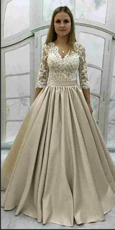 2020 Cheap Satin Long Sleeves V Neck Lace Ball Gown Prom Dresses