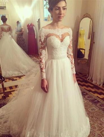 2020 A Line Tulle Sweetheart Long Sleeves Wedding Dresses