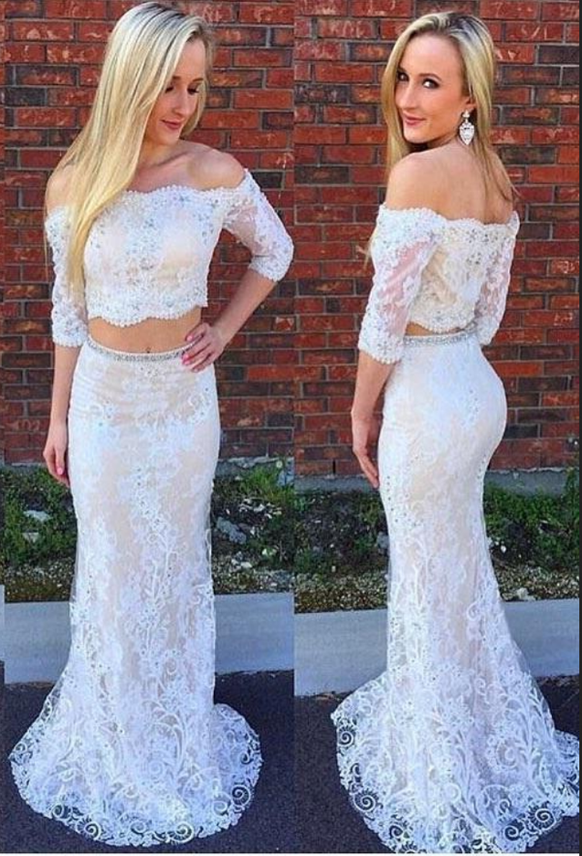 2020 White Sheath Long Sleeves Two Pieces Lace Prom Dresses