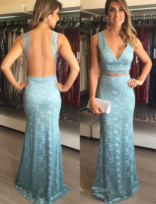 2020 Sheath Lace Blue V Neck Prom Dresses