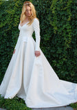 Cheap A Line Satin Long Sleeves Plain Wedding Dresses 2020