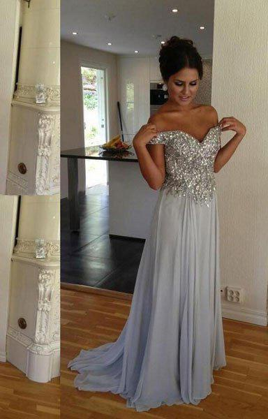 LadyPromDress 2020 Blue Sexy Sequined Sweetheart A-Line/Princess Chiffon Prom Dresses