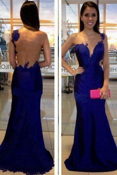 LadyPromDress 2020 Blue One Shoulder Mermaid/Trumpet Appliques Prom Dresses