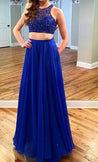 LadyPromDress 2020 Blue Illusion Beading Chiffon Two Pieces Prom Dresses