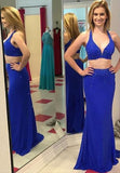 LadyPromDress 2020 Blue Sexy Beading Halter Two Pieces Prom Dresses