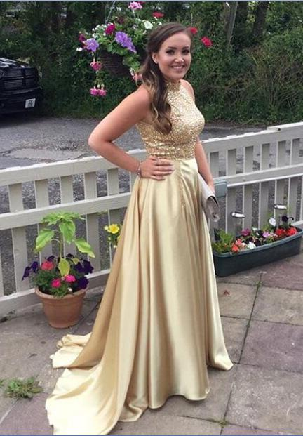 2020 Charming Princess/A-Line Satin Gold Prom Dresses