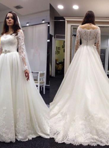 2020 Newly A Line Lace Long Sleeves With Beaded Belt  Long Wedding Dresses