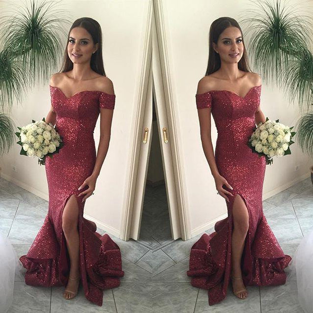 Sexy Sweetheart Red Sequence Off The Shoulder 2020 Prom Dresses