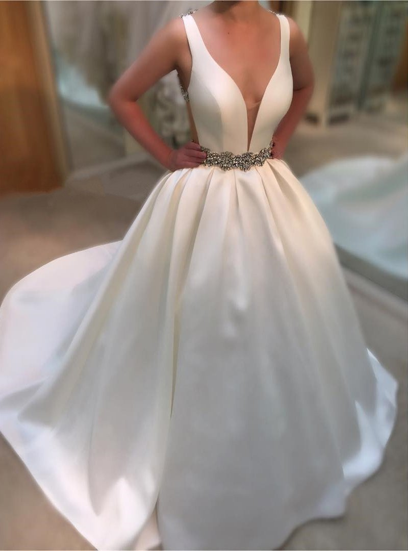 2020 Elegant A Line Satin Deep V Neck Beaded Belt Wedding Dresses