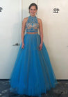 A-Line/Princess Tulle 2020 Two Pieces Prom Dresses