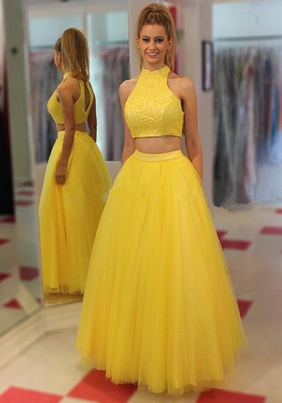 A-Line/Princess Tulle Two Pieces Daffodil Prom Dresses 2020 Two Pieces