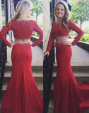 Trumpet/Mermaid Long Sleeves Two Pieces 2020 Satin Prom Dresses