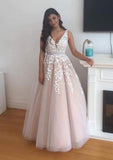 2020 Newly A-Line/Princess Tulle Pearl Pink Prom Dresses With Appliques