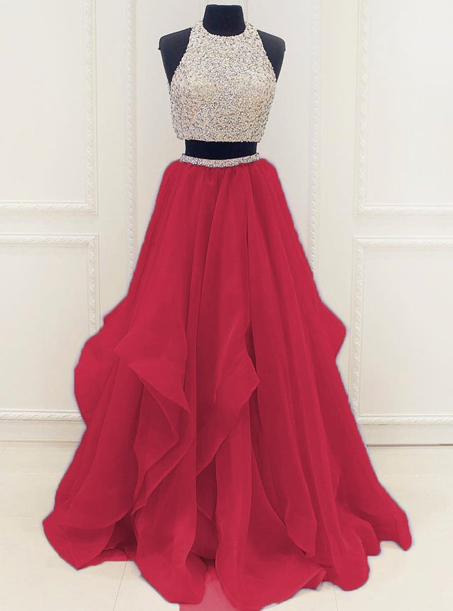 New Arrival A-Line/Princess Organza Red Two Pieces 2020 Prom Dresses