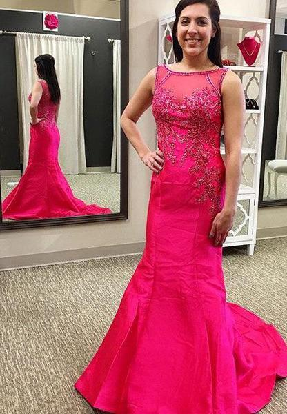 Bateau Beading Mermaid/Trumpet Satin 2021 Gorgeous Red Prom Dresses