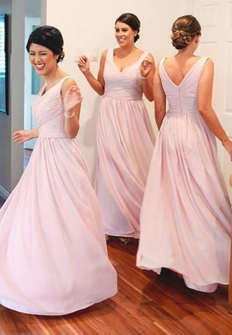 Chiffon Long/Floor-Length A-Line/Princess Sleeveless Sweetheart Zipper Bridesmaid Dresses / Gowns