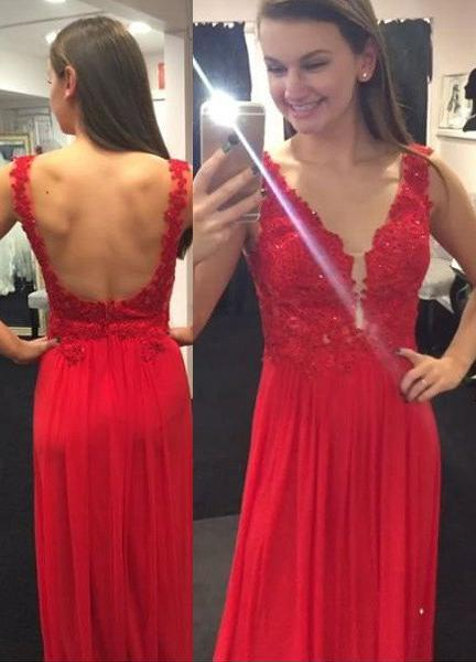 2020 Gorgeous Red Appliques Backless Chiffon Prom Dresses