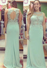 Beading Appliques Stretch Satin Prom Dresses Sage Green