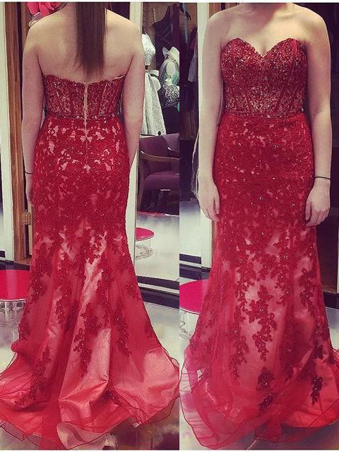2020 Gorgeous Red Prom Dresses Sweetheart Appliques Mermaid/Trumpet Tulle