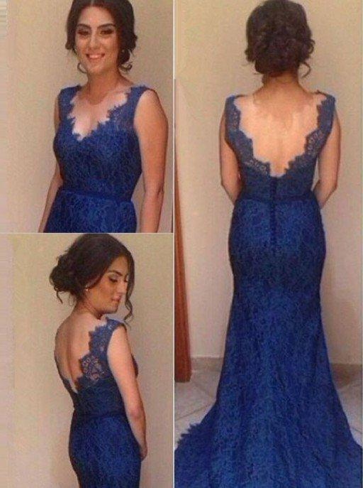 LadyPromDress 2020 Blue Mermaid/Trumpet V-Neck Natural Sweep Train Lace Prom Dresses