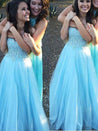 LadyPromDress 2021 Blue Prom Dresses Sweetheart Crystal A-Line/Princess Tulle