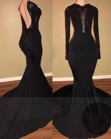 2020 Unique Black Long Sleeves Mermaid Backless Prom Dresses