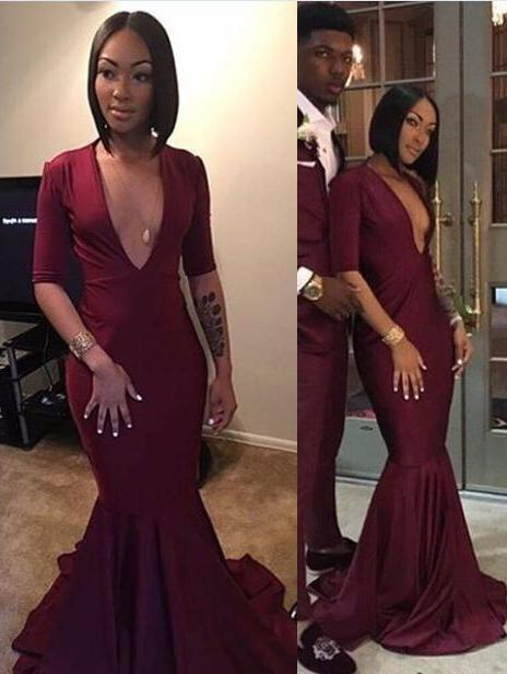 2021 Burgundy Sexy V-neck Mermaid Prom Dresses
