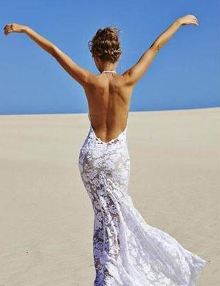 Charming Backless Sweetheart Halter Lace 2020 Wedding Dresses