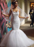 2020 Sexy Mermaid Sweetheart Tulle With Appliques Beaded Wedding Dresses