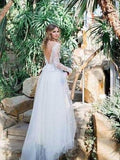2020 Cheap A Line Tulle Sleeves Backless Wedding Dresses