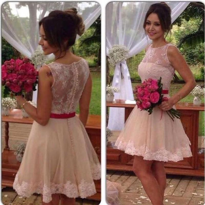 A Line Lace Knee Length Red Belt Short Wedding Dresses