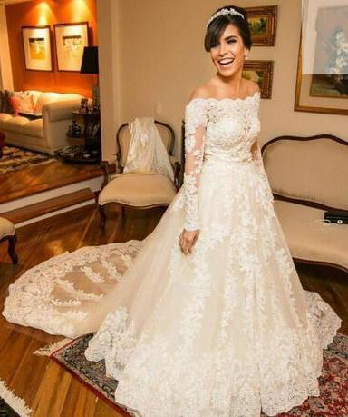 2020 A Line Long Train Lace Off The Shoulder Long Sleeves Wedding Dresses