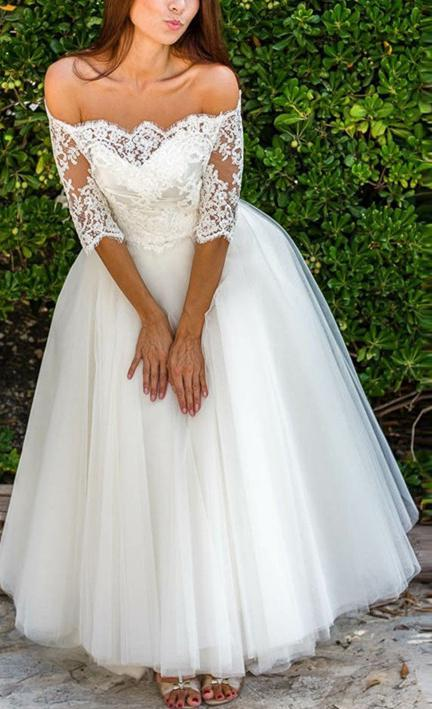 2020 Off The Shoulder Long Sleeves Tulle Wedding Dresses