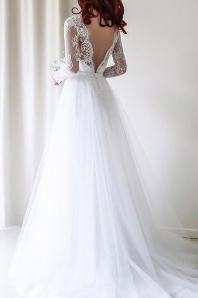Cheap A Line Tulle Backless Long Sleeves 2020 Wedding Dresses